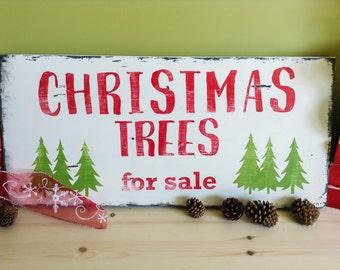 Christmas Rustic Decor, Christmas Trees For Sale sign, Rustic Christmas Sign