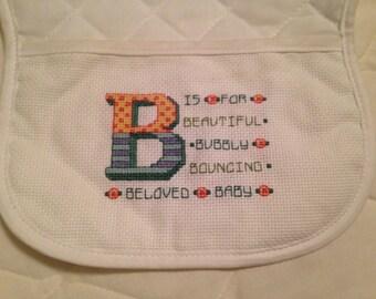 Beautiful Hand Cross Stitched baby bib