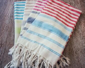 Striped Peshtemal Towel Set Of 4 , Turkish Peshtemal Towel, High Quality Pestemal