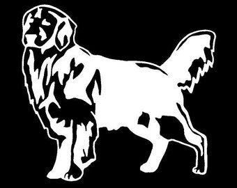 Vinyl Decal Golden Retriever dog puppy pet fun country bumper sticker car truck laptop