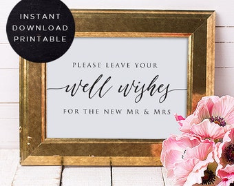 Printable Reception Sign | Leave Well Wishes | INSTANT DOWNLOAD | Reception Signs, Wedding Signs, Wedding Signage, Printable Wedding DIY