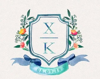 Wedding Monogram | Shielded | Wedding Logo, DIY wedding, wedding initials, printable wedding, wreath monogram, leaves monogram, painted