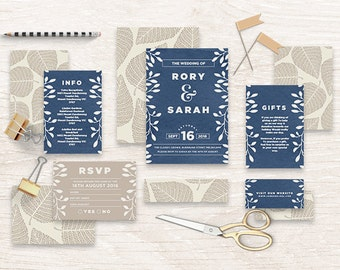 "Printable Wedding Invitation Suite ""Sweet Navy"" - Printable DIY Invite, Affordable Wedding Invitation"