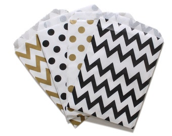 Party Favor Bag, Paper Favor Bags, Gold and Black Polka Dot Chevron Paper Favor Bags, Glam Birthday Party Treat Bags, Graduation Party Favor