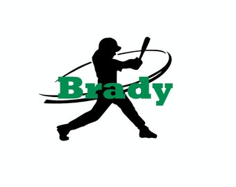 Baseball Player Silhouette Decal - Custom Vinyl Baseball Player Decal  - Customized With Name or Number