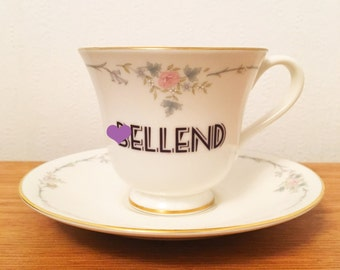 B*llend | Custom Swear Teacup and Saucer | Made To Order | Funny Rude Insult Obscenity Profanity | Unique Gift Idea