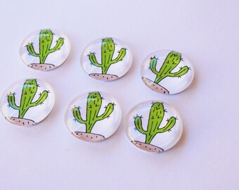 FREE SHIPPING AUS - Cute Cactus Print Glass Magnets - 6 Piece Magnet Set - Super Strong - Cacti - Gift