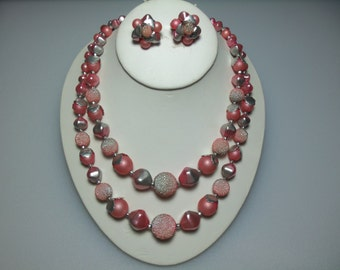 Vintage Mauve and Silver Tone Double Strand Bead Sugar Bead Necklace and Cluster Earrings Marked Hong Kong