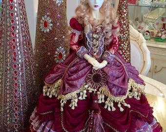 BJD rococo dress - red rose