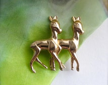 Vintage Brooch, Bambi Brooch, Small Deer, Retro Costume Jewellery