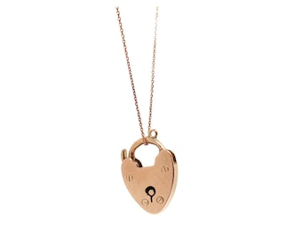 Antique Victorian Rose Gold Heart Lock Necklace | Free Delivery