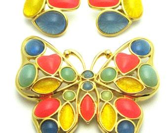 Vintage Trifari Brooch | Butterfly Brooch | Jelly Bean Brooch | Vintage Brooch | Vintage Butterfly Brooch | 1980s Brooch | Trifari
