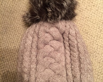 Wool fox fur Pom Pom hat
