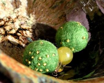 Hand felted earrings, green drop earrings, green beaded earrings, wool earrings, czech beads, semiprecious stones