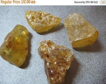 ON SALE Raw Colombian Copal Amber Drilled Beads 4pcs