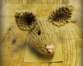 Hand Knitted Rabbit Pin