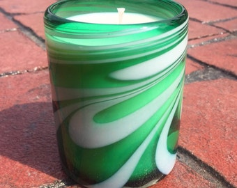 """Hand Blown Recycled Glass """"Whirling Emerald"""" Green & White Art Tumbler Vanilla Soy Candle"""