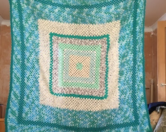 Green and white Blanket/Throw