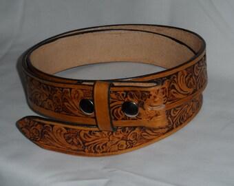 embossed leather belt strap