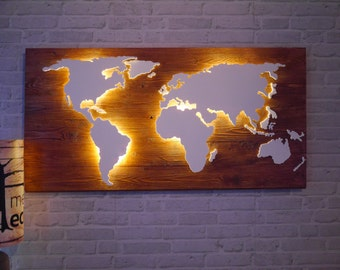 Illuminated world map made from real wood with 3D effect (vintage & LED)