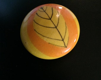 Bo Melander ceramic leaf paperweight