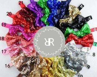 4 inch sequin bow headband, baby sequin bow, girl headband, baby headband