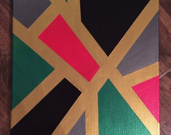 11x14 Acrylic Painted Canvas + Metallic