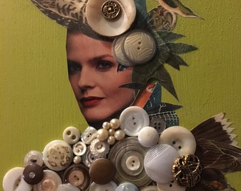 Mixed Media Button Collage Art