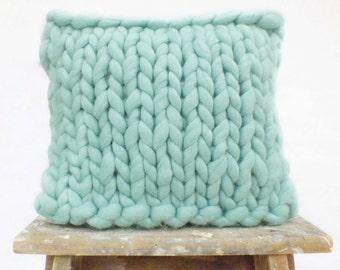 "Chunky Merino Cushion (15""x15"") - Blue"