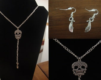 New ornament Pirate skull and cutlass made hand (necklace and earrings) Silver