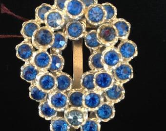 Vintage 1930's Blue Rhinestone Dress Clip