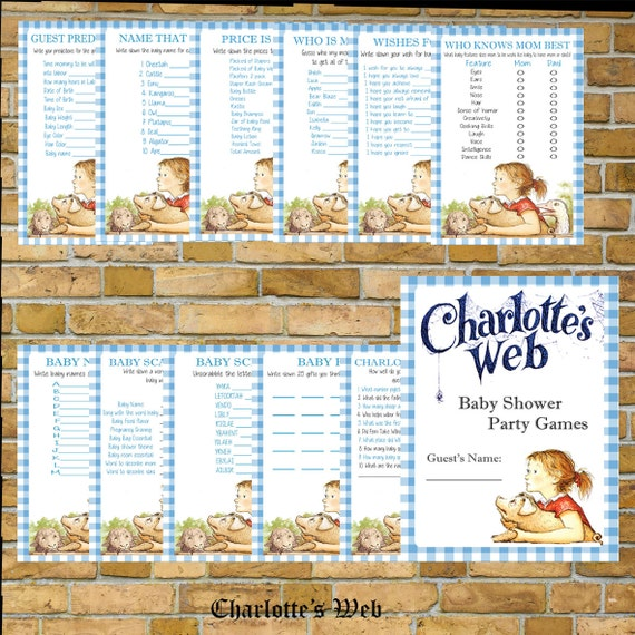 sale charlotte 39 s web baby shower party games instant download