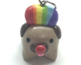 Polymer Clay Clown Pug Charm
