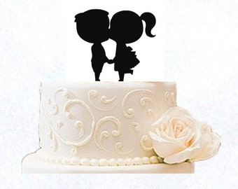 Engagement Cake Topper- Kissing Kids by VividLaser