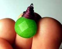 Raspberry Green Pendant Bright Faceted Wrapped Candy Jade Spring