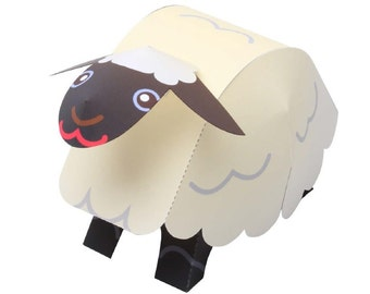 Paper toy swinging sheep for self-assembly. Printable A4. PDF and JPEG. Instant Download. 2.