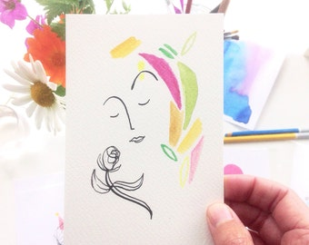 Original A6 Ink & Watercolour Illustration - Bright Flower Girl 2