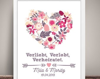 DIN A3 wedding day/anniversary art print, mural 'VVV' print, gift wedding