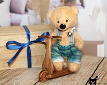 Collectible pocket bear, Artist Teddy bear, Stuffed Animal, Teddy Bear, Christmas gift, Scooter, OOAK bear, Ready to ship, Copper colour