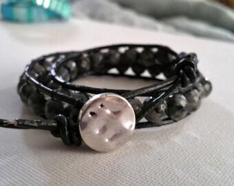 wrap bracelet, black agate, black leather cord, silver button