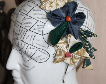 Headband with cloth flowers, tsumami kanzashi style, different colors, hairdo accessory, hair jewel, fantasy, asian