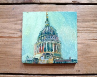 St Paul's Cathedral - London - small oil painting - dome - cityscape - Emily Fladgate