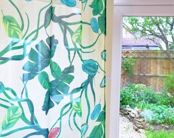 Botanical chiffon curtain/screen - textile hanging - 1m x 2.3m - home decor, fabric, curtain, textiles, tropical, plants, interior design