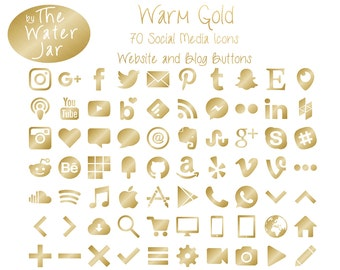 Gold Social Media Icons in Warm Gold Metallic Finish.  Metallic Brushed Gold Foil Social Icons, Website icons, Commercial Use
