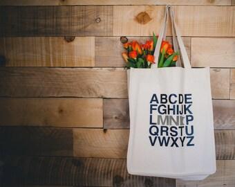Minnesota Tote: Alphabet MN - Gray