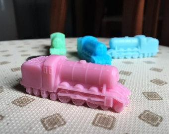 Train party,Thomas and friends party favors mini soap bars. Birthday, boy, girl,any color.Individually wrapped.