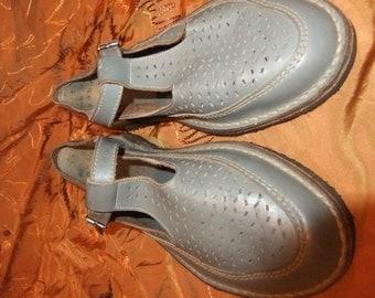 Grey Mary Jane leather sandal sz 3.5 1950s