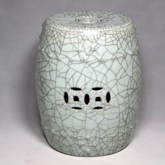 Blue Green Chinese Porcelain Handmade Garden Stool Celadon