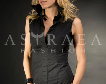 Woman Black Shirt, Elegant Top, Stylish Top, Extravagant Top, Party Top by Astraea-2008