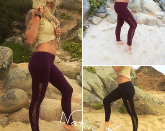 yoga,band,Leggings, Black,purple,rouge, ,psy trance leggings, yoga leggings, braided,high,waist,festival,wear